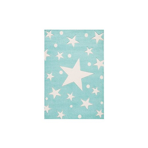 Happy Rugs Kinderteppich, STARS mint/weiß, 100 x 160 cm