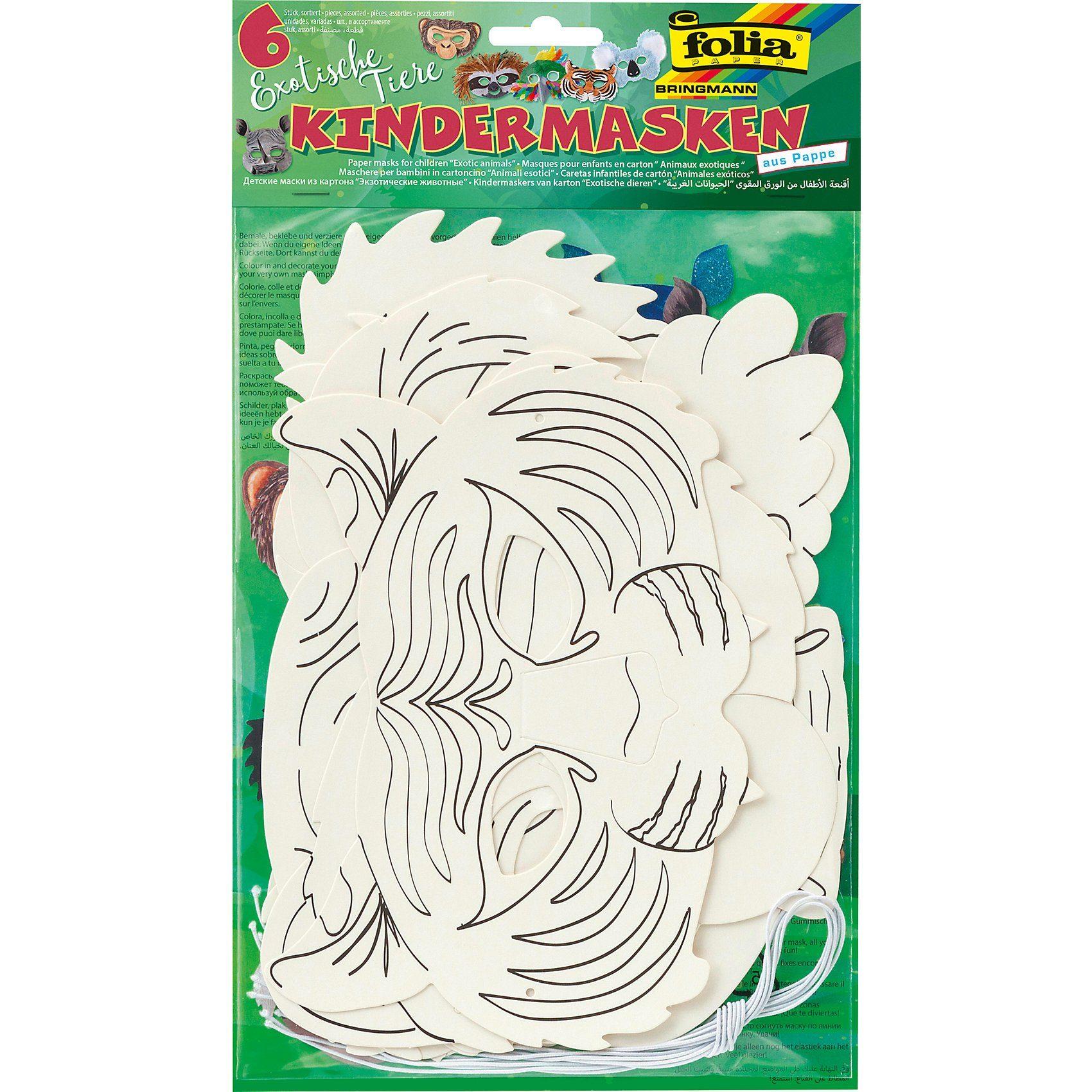 Folia Kindermasken Exotische Tiere, 6 Stück