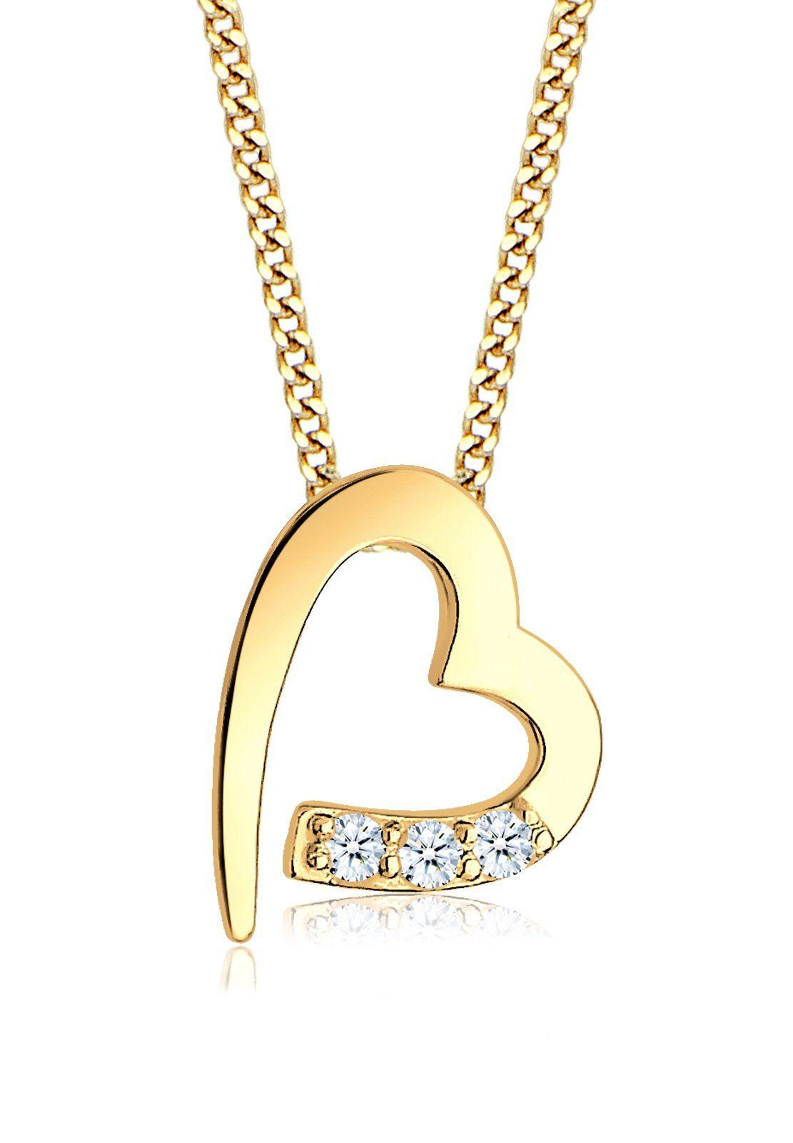 Diamore Collierkettchen »Herz Diamanten (0.06 ct) 585er Gelbgold«