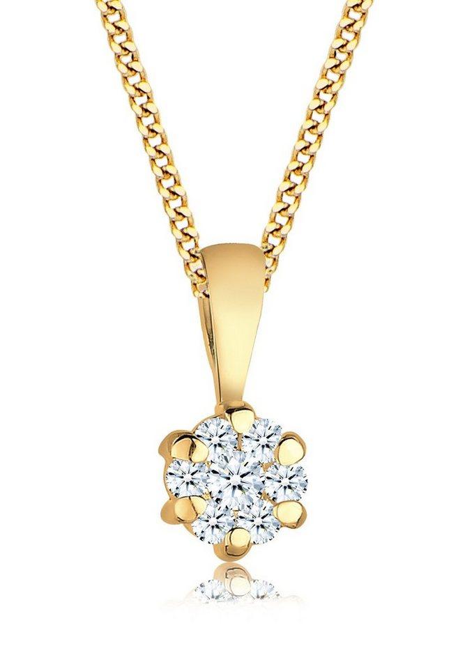 diamore halskette blume brilliant diamant ct 585 gelbgold online kaufen otto. Black Bedroom Furniture Sets. Home Design Ideas