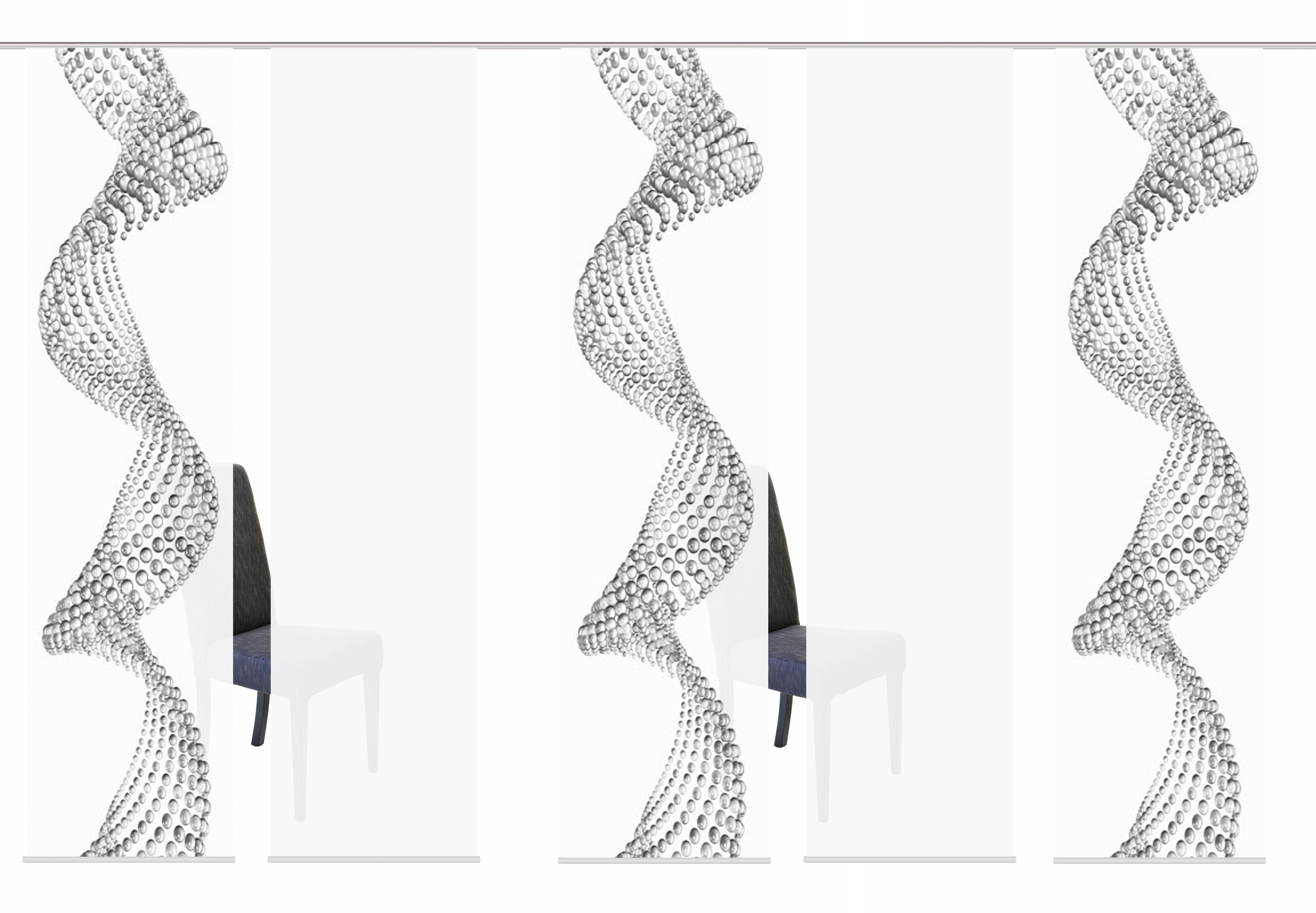 Schiebegardine »5ER SET PEARL«, HOME WOHNIDEEN, Paneelwagen (5 Stück), Schiebevorhang 5er Set Digitaldruck