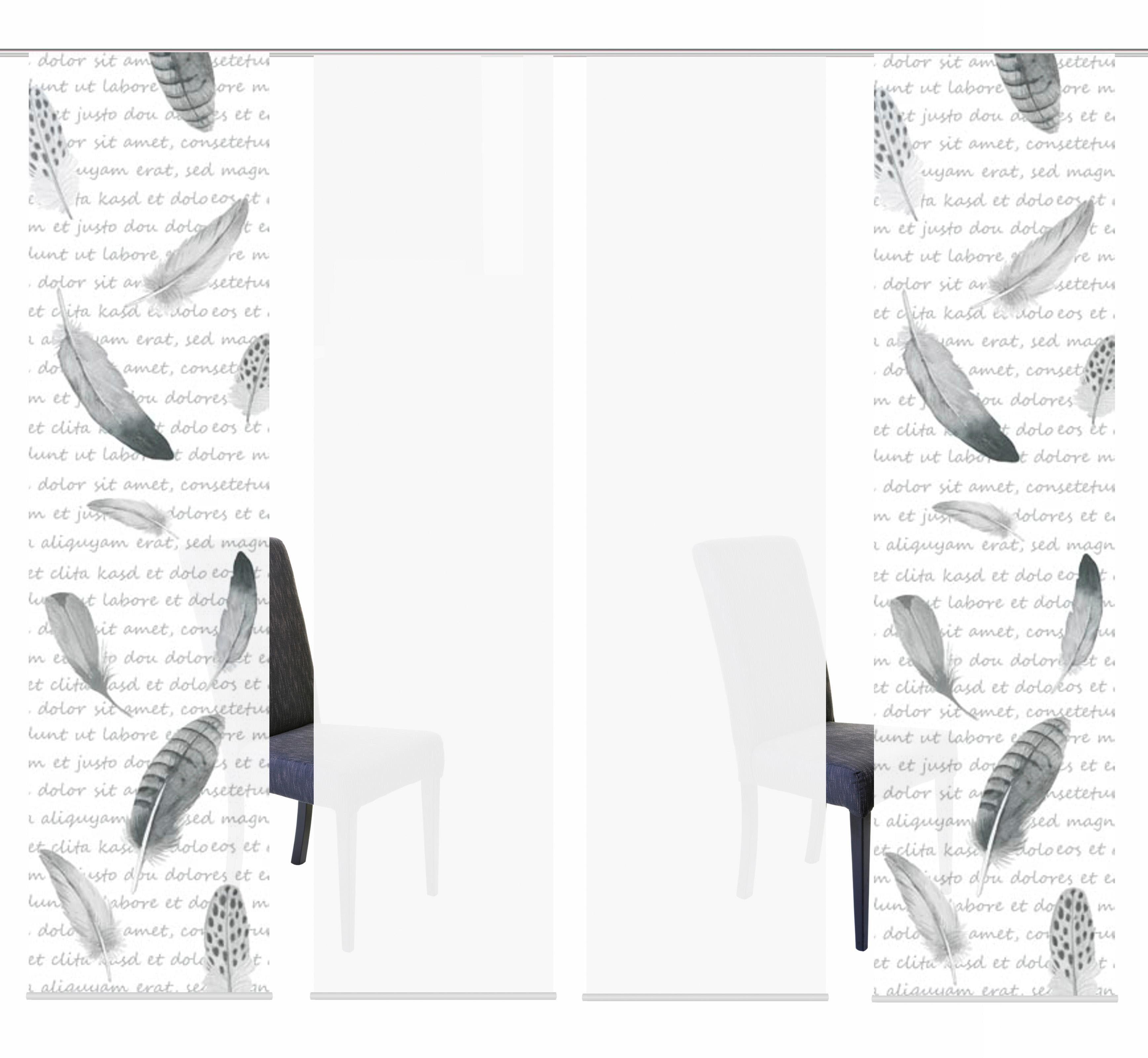 Schiebegardine »4ER SET FEDO«, HOME WOHNIDEEN, Paneelwagen (4 Stück), Schiebevorhang 4er Set Digitaldruck