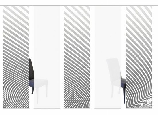 Schiebegardine »5ER SET STRIPE«, HOME WOHNIDEEN, Paneelwagen (5 Stück), HxB: 245x60, Schiebevorhang 5er Set Digitaldruck