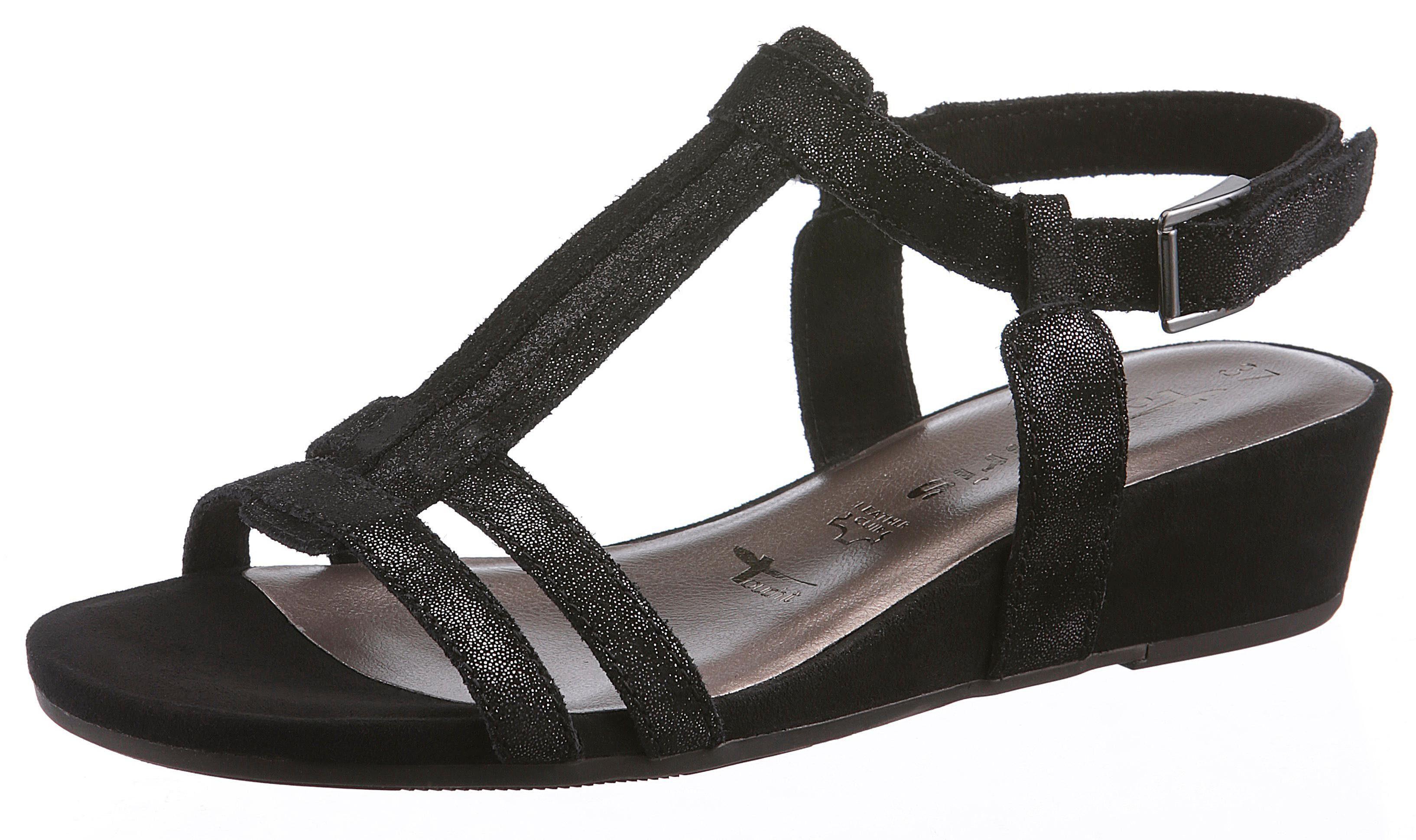 Tamaris Sandalette, mit schönen Glitzereinsatz  schwarz