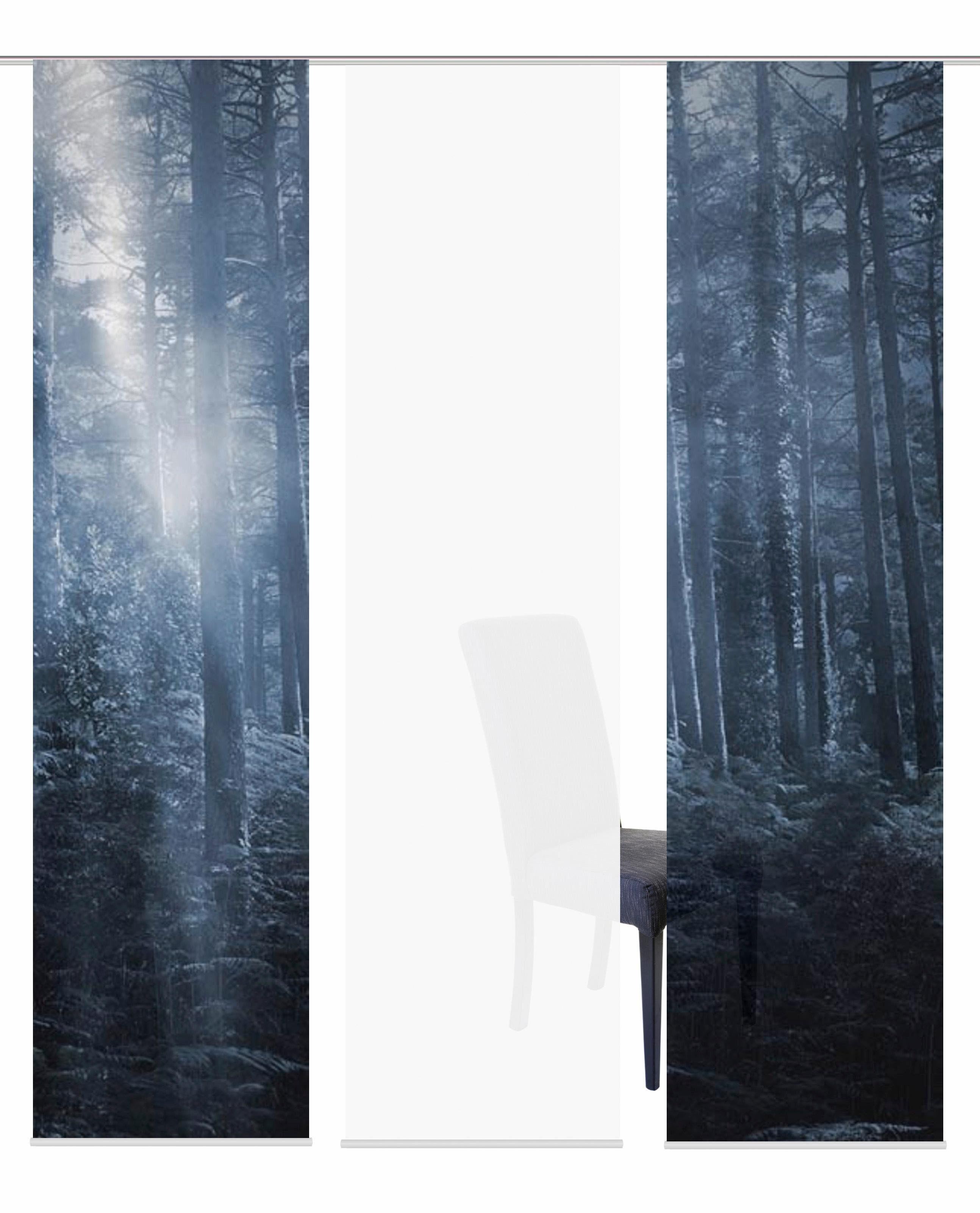 Schiebegardine »3ER SET FORK«, HOME WOHNIDEEN, Paneelwagen (3 Stück), Schiebevorhang 3er Set Digitaldruck