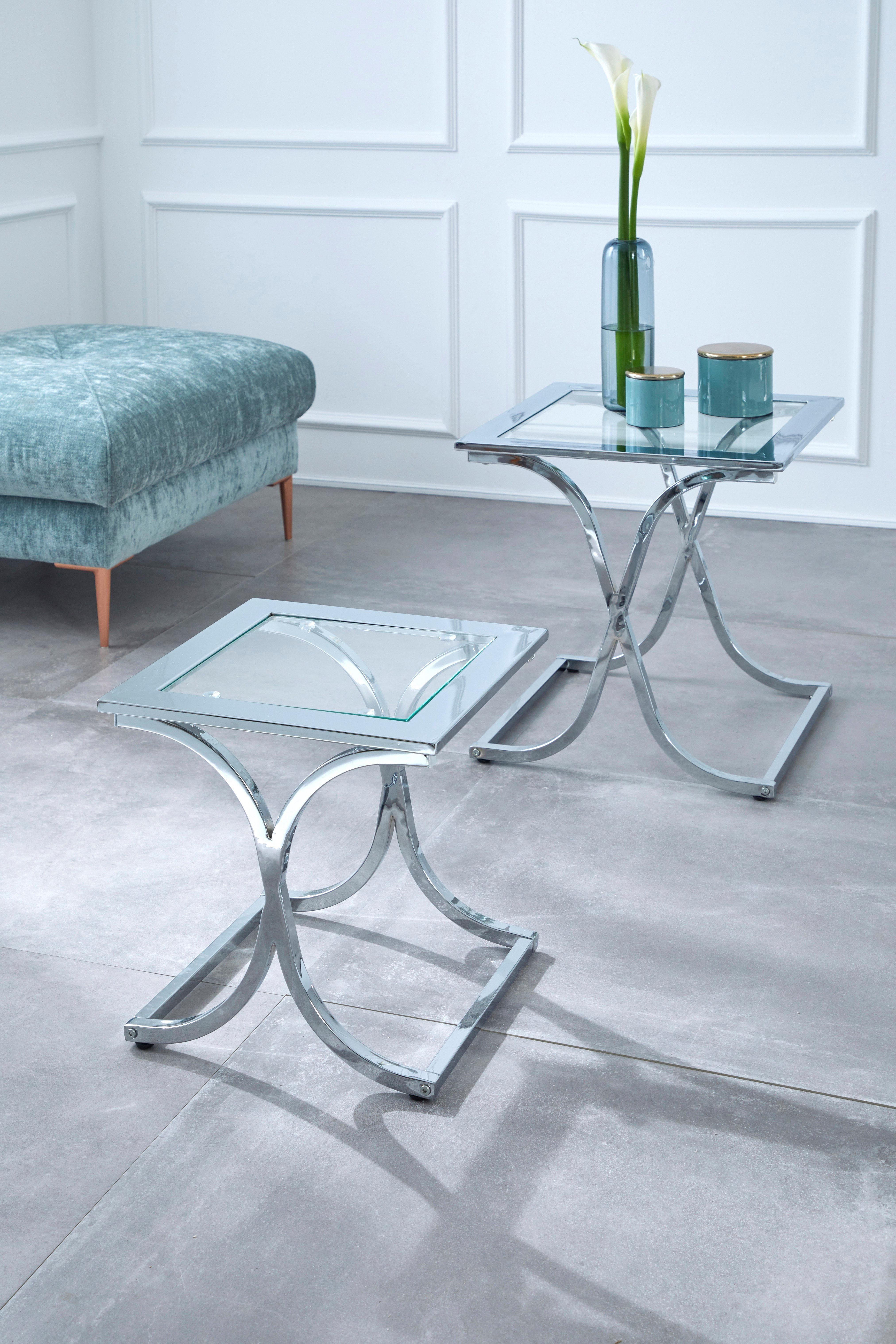 GMK Home & Living Beistelltisch 2er-Set »Ballum«, mit edlem Metallgestell und Glasplatte