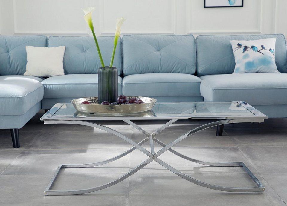 gmk home living couchtisch ballum mit edlem metallgestell und glasplatte breite 120 cm. Black Bedroom Furniture Sets. Home Design Ideas