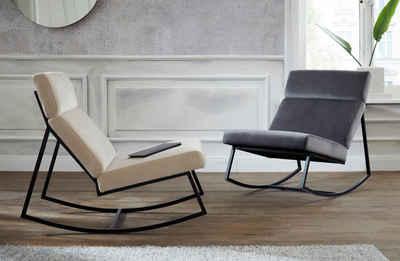 Guido Maria Kretschmer Home&Living Schaukelstuhl »Soel«, mit modernen Metallgestell und weichem Samtvelours Bezug