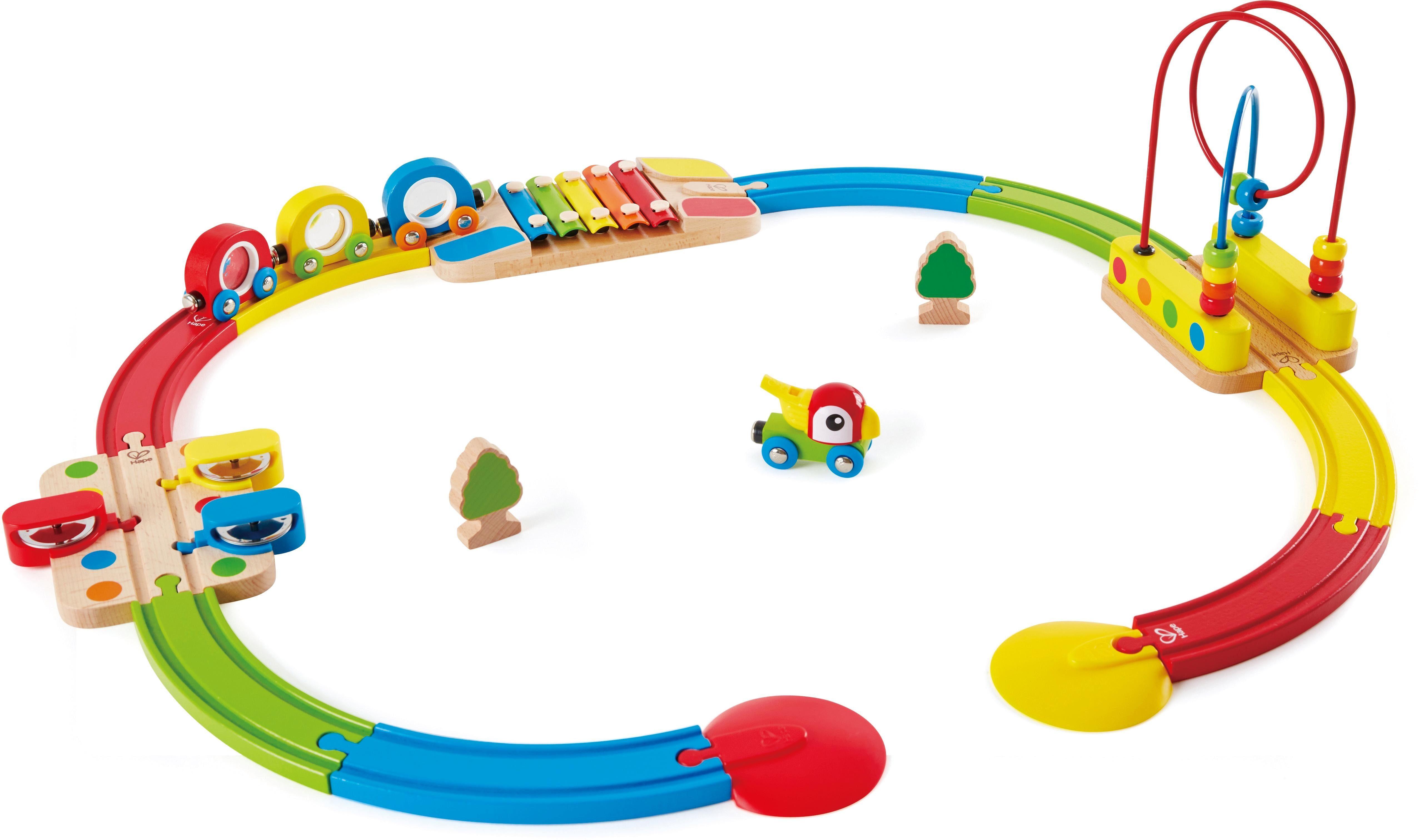 Holzspielzeug Hape Schienenelement mit Regenbogen-Perlenlabyrinth Zubehör zur Eisenbahn#
