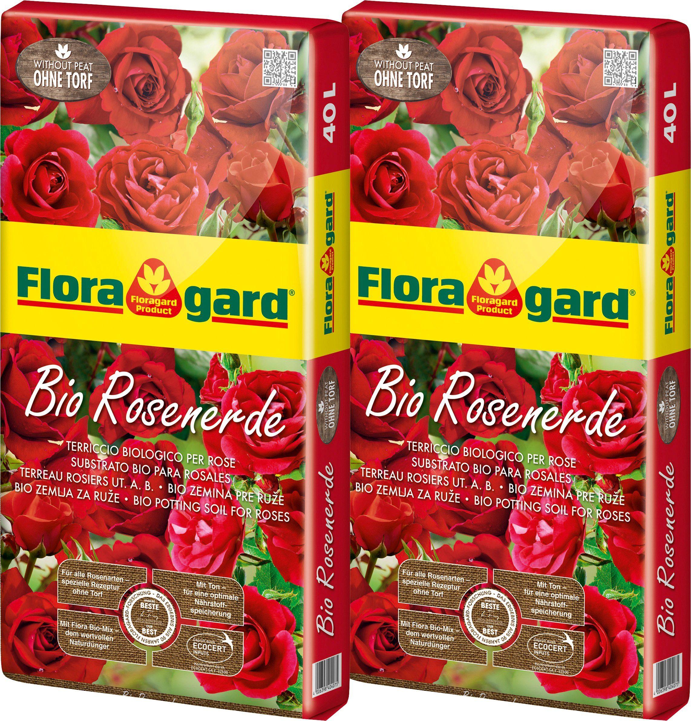 FLORAGARD Rosenerde , BIO ohne Torf, 2x40 Liter