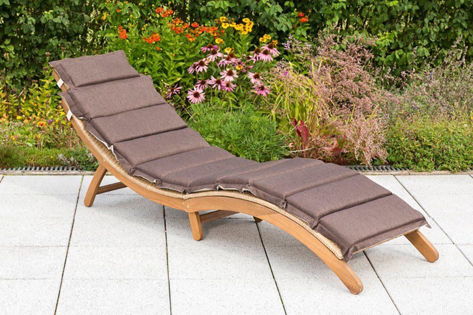 MERXX Gartenliege »Capri«, Akazie/Polyrattan, klappbar, natur, inkl. Kissen