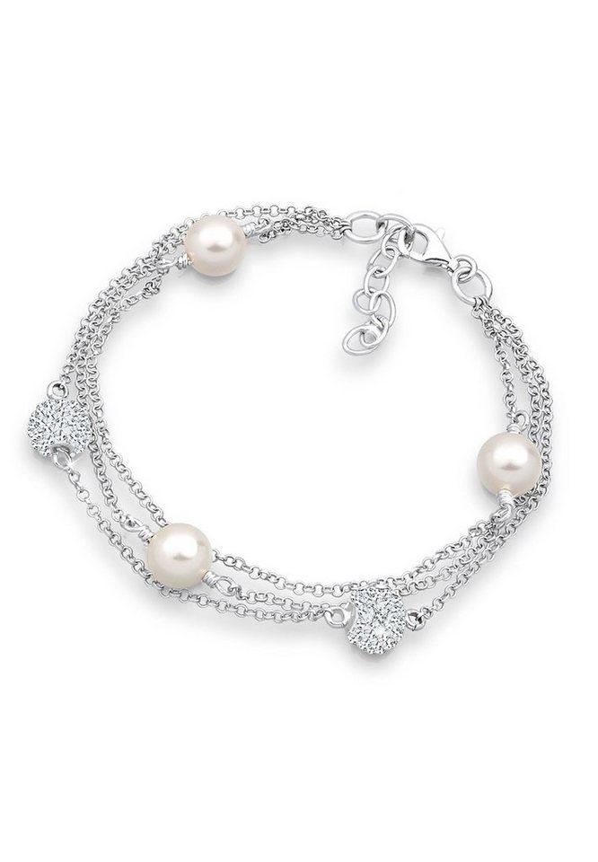 Elli Armband »Süßwasserzuchtperlen Swarovski Kristalle Silber« | Schmuck > Armbänder > Silberarmbänder | Weiß | Elli