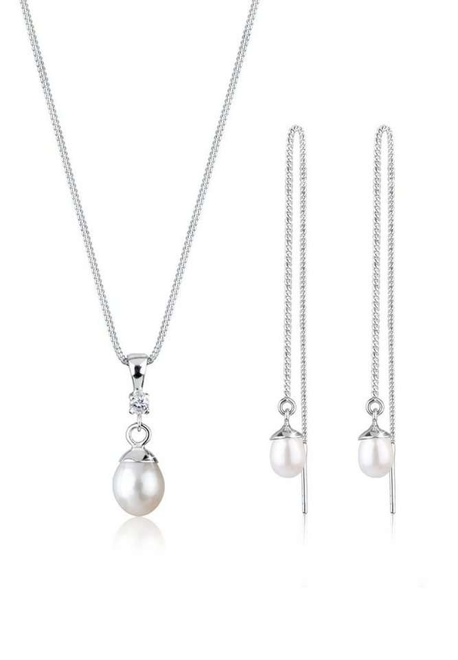 PERLU Schmuckset »Set: Perle Zirkonia 925 Sterling Silber« (Set, 2 tlg) | Schmuck > Schmucksets | Weiß | PERLU