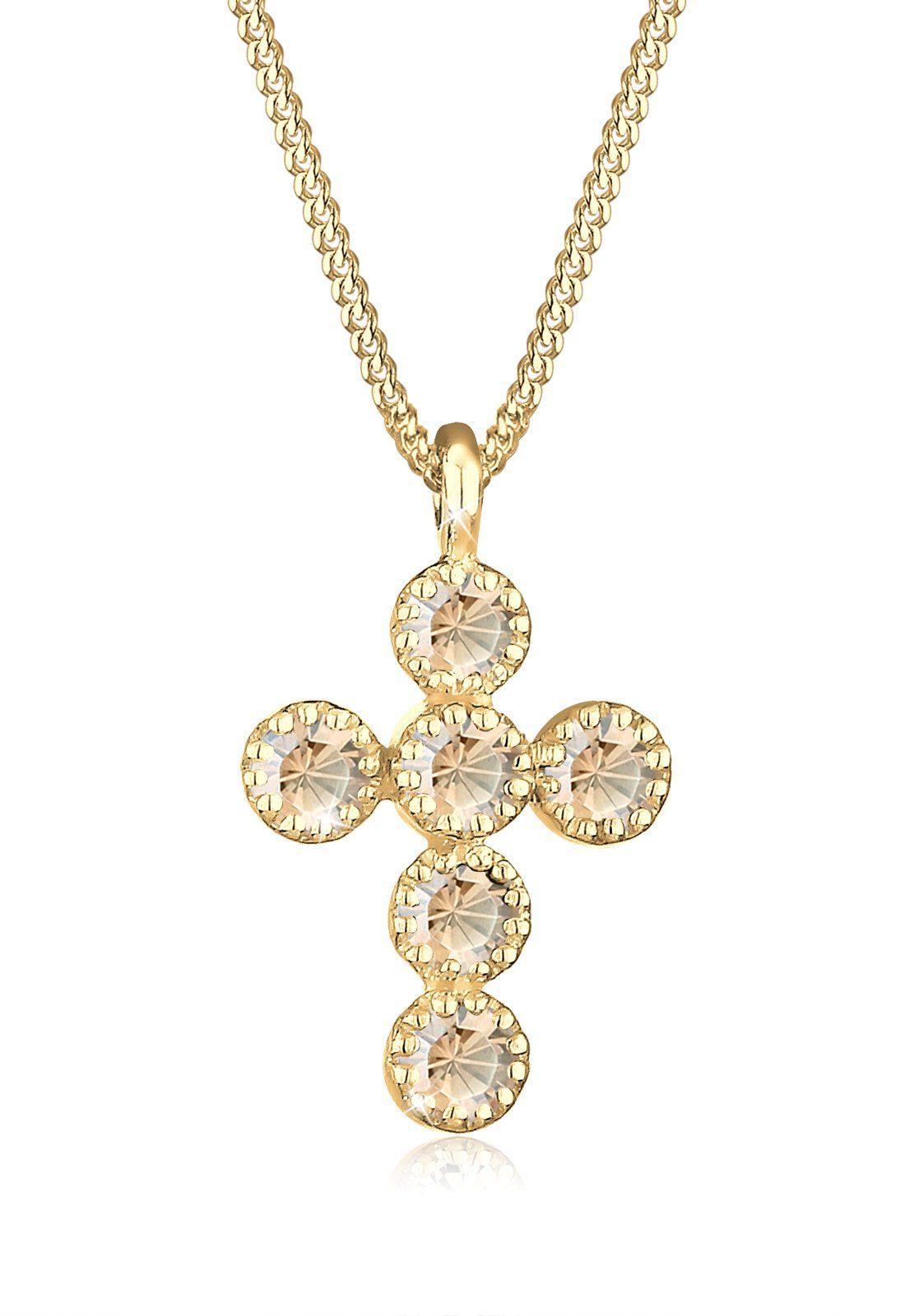 GOLDHIMMEL Collierkettchen »Kreuz Swarovski® Kristalle 925 Sterling Silber«