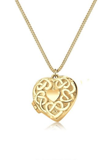 Elli Kette mit Anhänger »Herz-Medaillon Ornament 925 Sterling Silber«