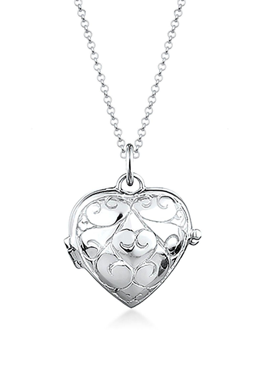 Foto Medaillon Herz Amulett weißer Zirkonia Bilder Anhänger Silber 925 mit Kette