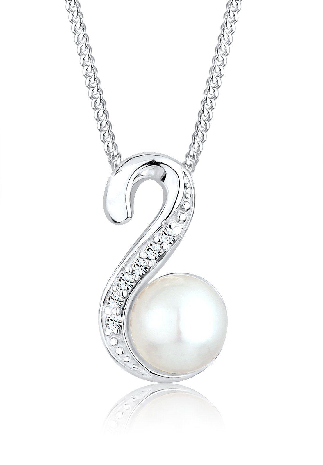 PERLU Perlenkette »Süßwasserperle Swarovski® Kristalle 925 Silber«