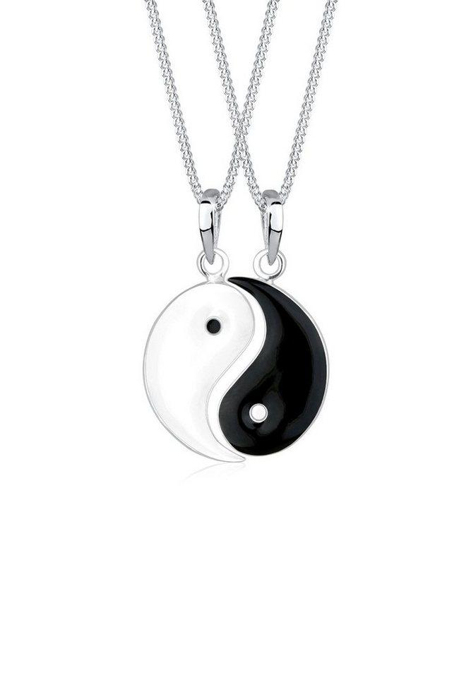 Elli Ketten-Set »Set: Partnerketten Yin Yang 925 Sterling Silber« (Set, 2 tlg) | Schmuck > Halsketten > Partnerketten | Schwarz | Elli