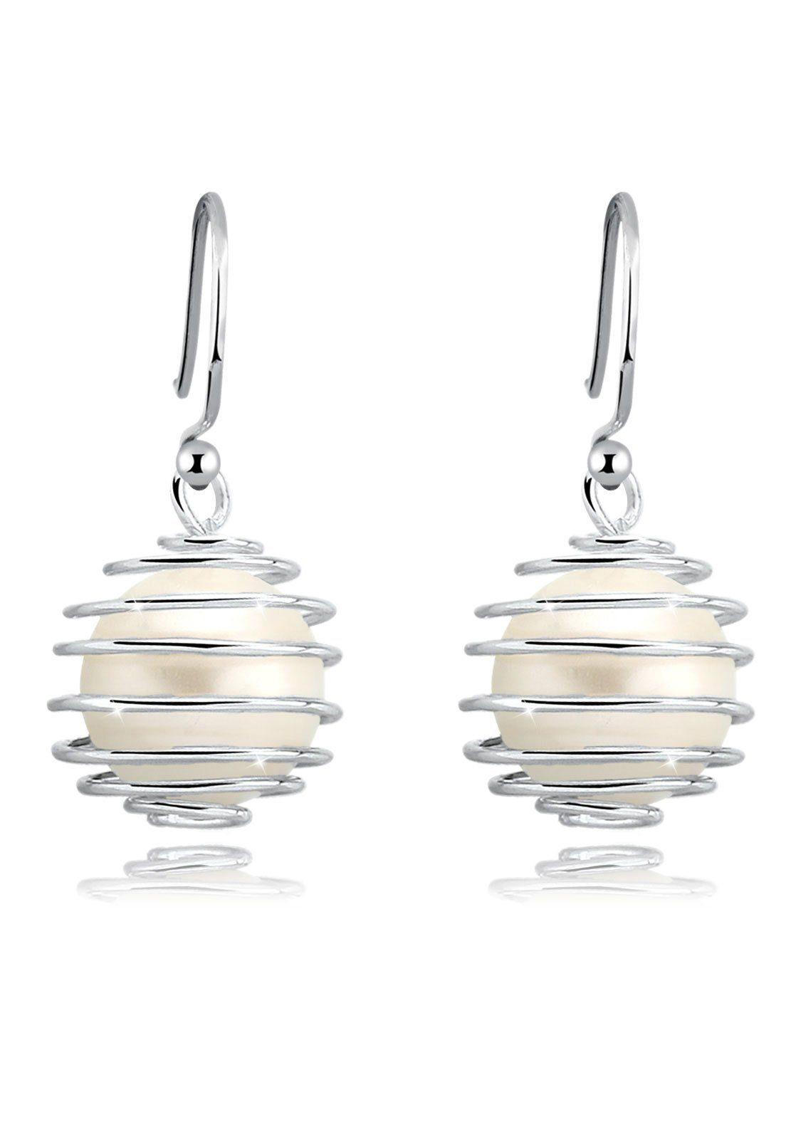 Elli Perlenohrringe »Perlen Spirale Geo Muschelkernperle 925 Silber«