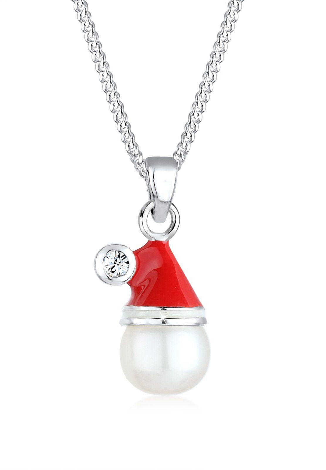 Elli Perlenkette »Weihnachtsmannmütze Swarovski® Kristall 925 Silber«