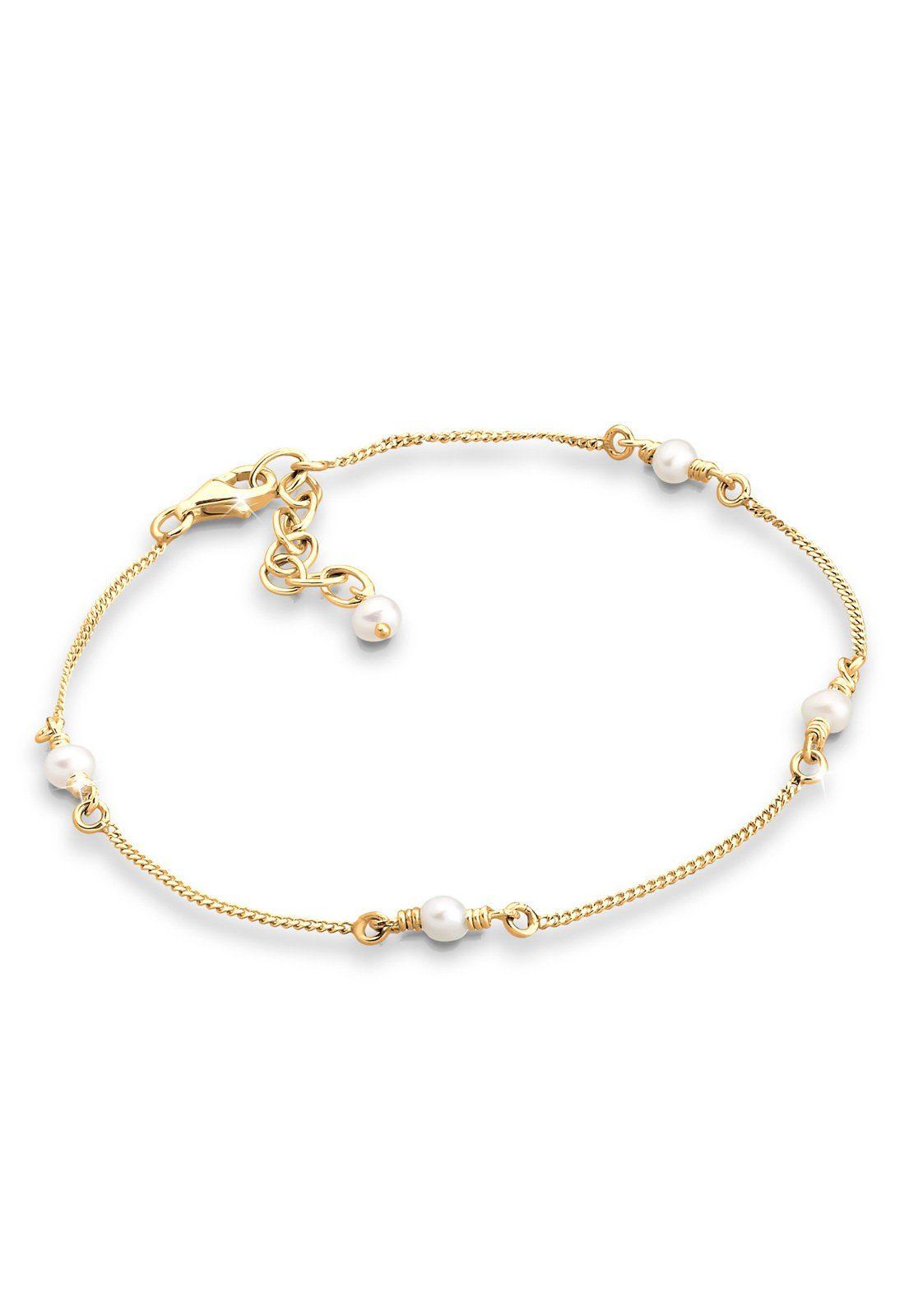 GOLDHIMMEL Perlenarmband »Süßwasserzuchtperlen 925 Silber vergoldet«