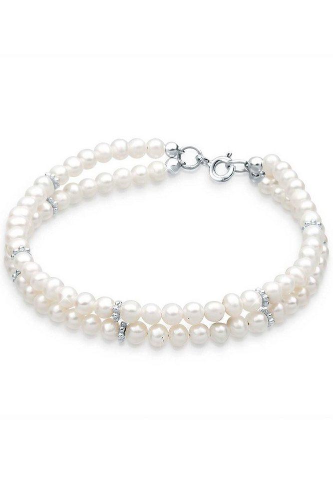 PERLU Perlenarmband »925 Sterling Silber Süßwasserzuchtperle« | Schmuck > Armbänder > Perlenarmbänder | Weiß | PERLU