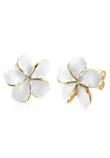 GOLDHIMMEL Paar Ohrstecker »Frangipani Blüte Natur Blume Filigran vergoldet«