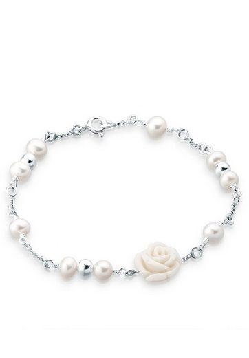 Elli Perlenarmband »Rose Süßwasserzuchtperle 925 Sterling Silber«