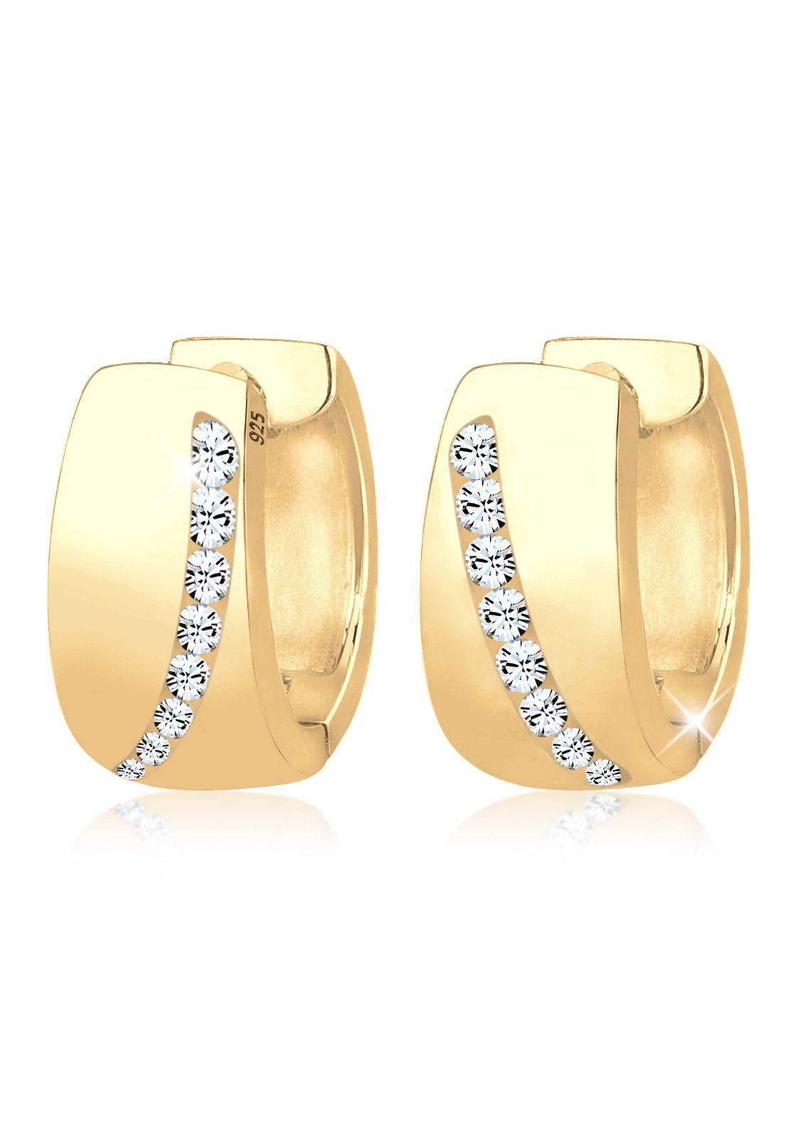 GOLDHIMMEL Paar Creolen »Creolen Swarovski® Kristalle Funkelnd vergoldet«