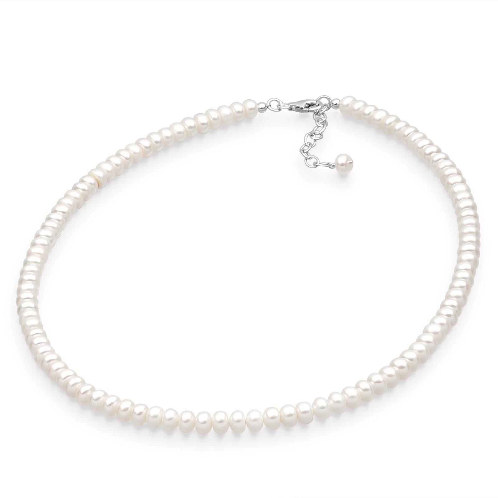 PERLU Perlenkette »Edel Süßwasserzuchtperlen 925 Sterling Silber«