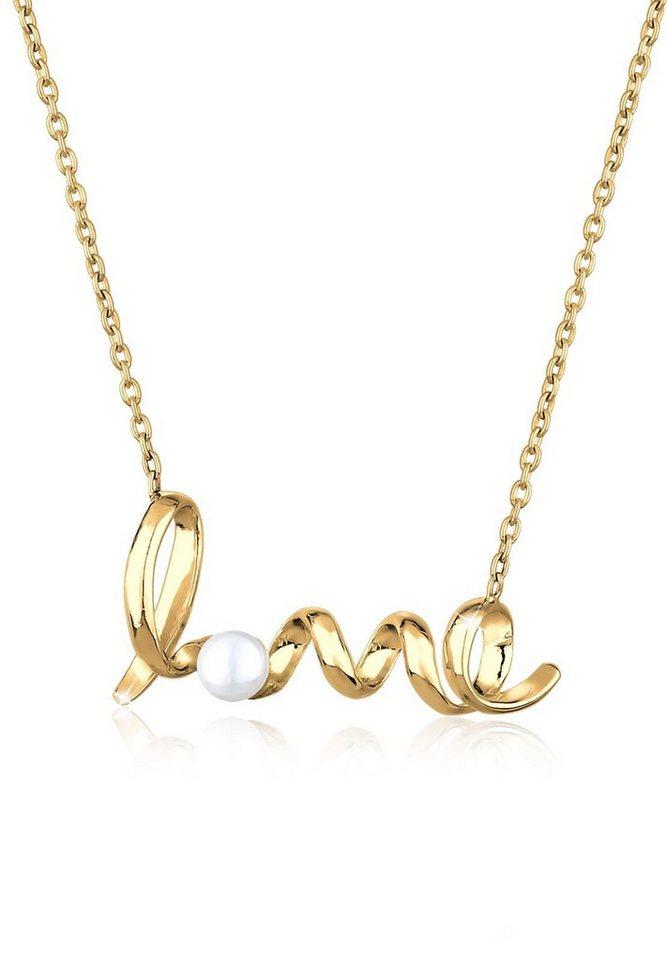 GOLDHIMMEL Perlenkette »Love Schriftzug Perle 925 Sterling Silber« | Schmuck > Halsketten > Goldketten | Goldfarben | GOLDHIMMEL