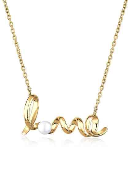 GOLDHIMMEL Perlenkette »Love Schriftzug Perle 925 Sterling Silber«