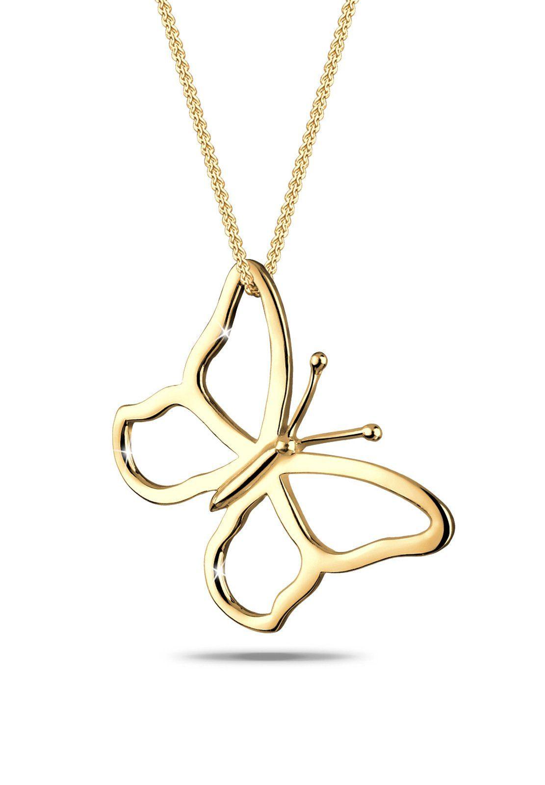 GOLDHIMMEL Collierkettchen »Schmetterling 925 Sterling Silber vergoldet«