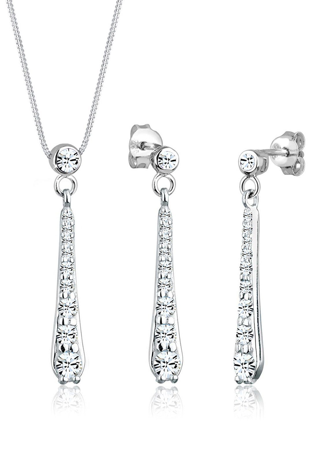 Elli Schmuckset »Set: Tropfen Swarovski Kristalle 925 Silber« (Set, 2 tlg)