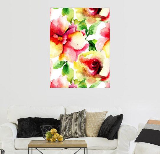 Posterlounge Wandbild »Aquarellmalerei mit Rosenblüten«