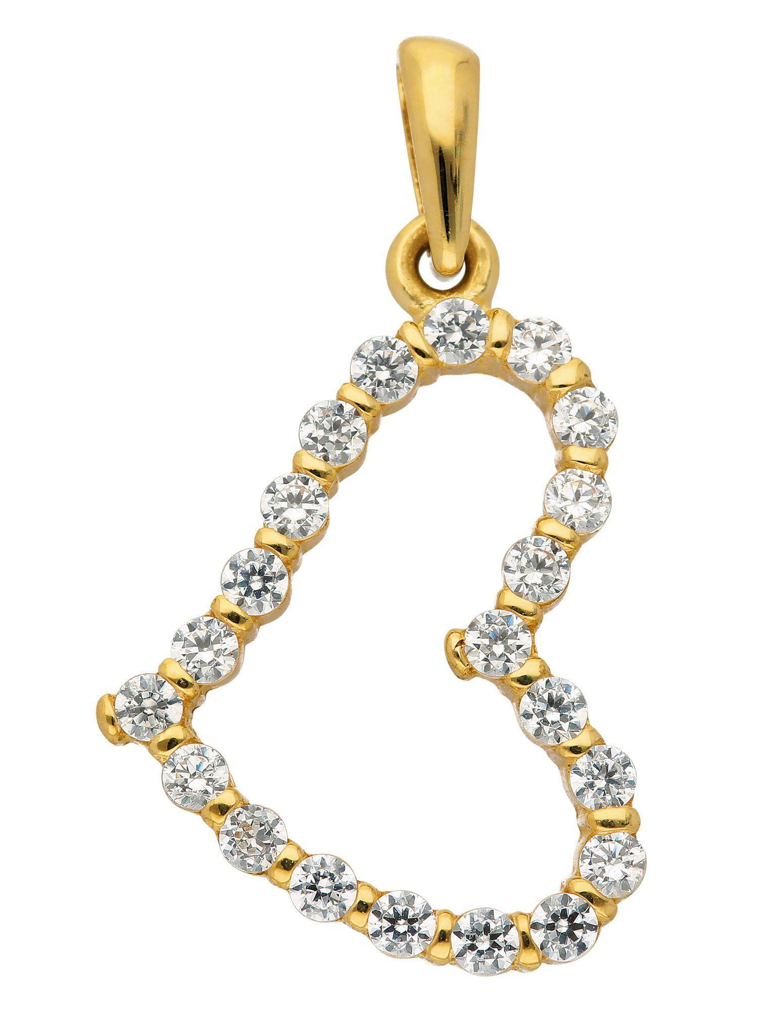 Adelia´s Kettenanhänger »Gold Anhänger«, 8 k 333 Herz mit Zirkonia