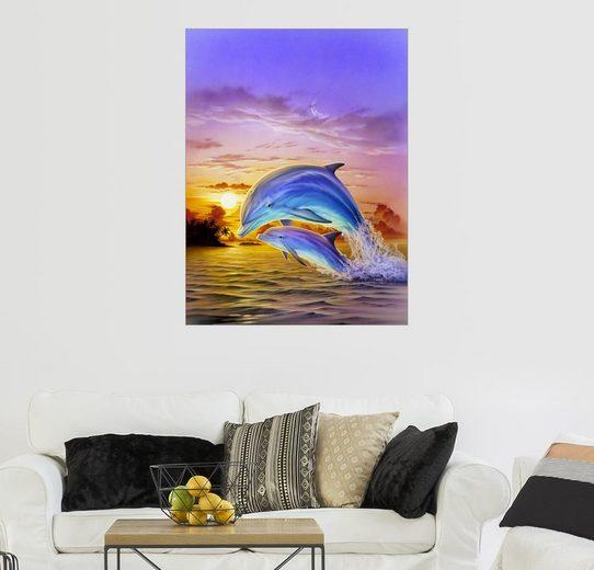 Posterlounge Wandbild - Robin Koni »Delfine bei Sonnenaufgang«