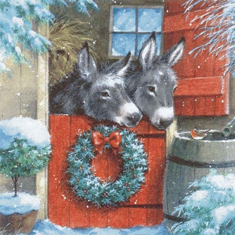 Linoows Papierserviette »20 Servietten Weihnachten, Zwei Esel im geschmückt«, Motiv Weihnachten, Zwei Esel im geschmückten Stall