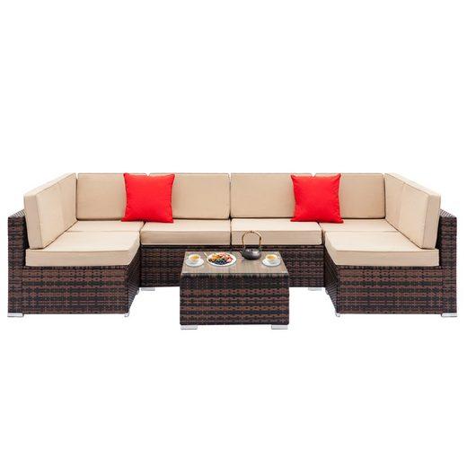 PHOEBE CAT Loungeset, (7-tlg), 7-tlg. Poly Rattan Garten Lounge Set Gartenmöbel Sets mit Auflagen, 2 Ecksofa + 4 Einzelne Sofas + Couchtisch (65x65x32 cm)