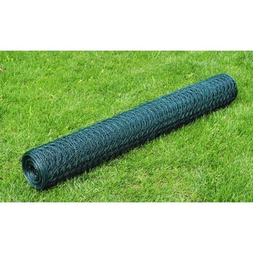 vidaXL Zaun »vidaXL Maschendraht Verzinkt mit PVC-Beschichtung 25×0,5 m Grün«