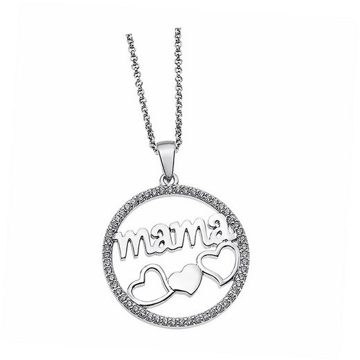 LOTUS SILVER Kette mit Anhänger »JLP1809-1-1 Lotus Silver Mama Herzen Halskette« (Halsketten), Halsketten für Damen 925 Sterling Silber, silber, weiß
