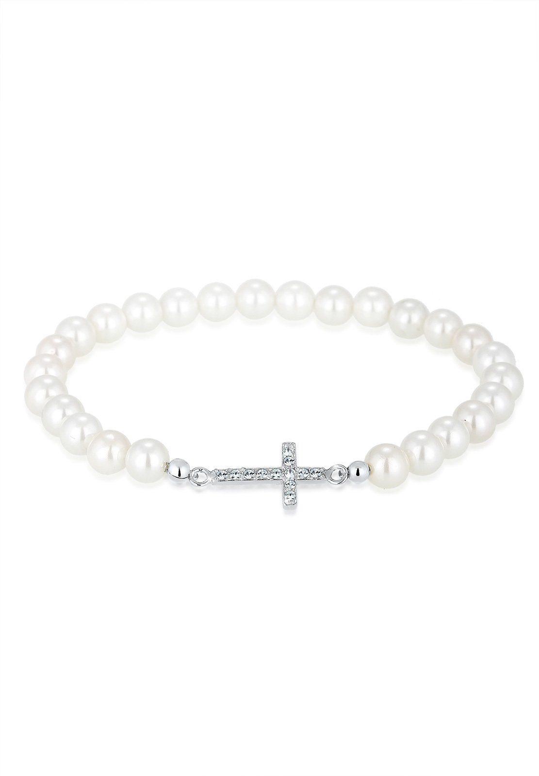 Elli Perlenarmband »Kreuz Swarovski® Kristalle 925 Sterling Silber«