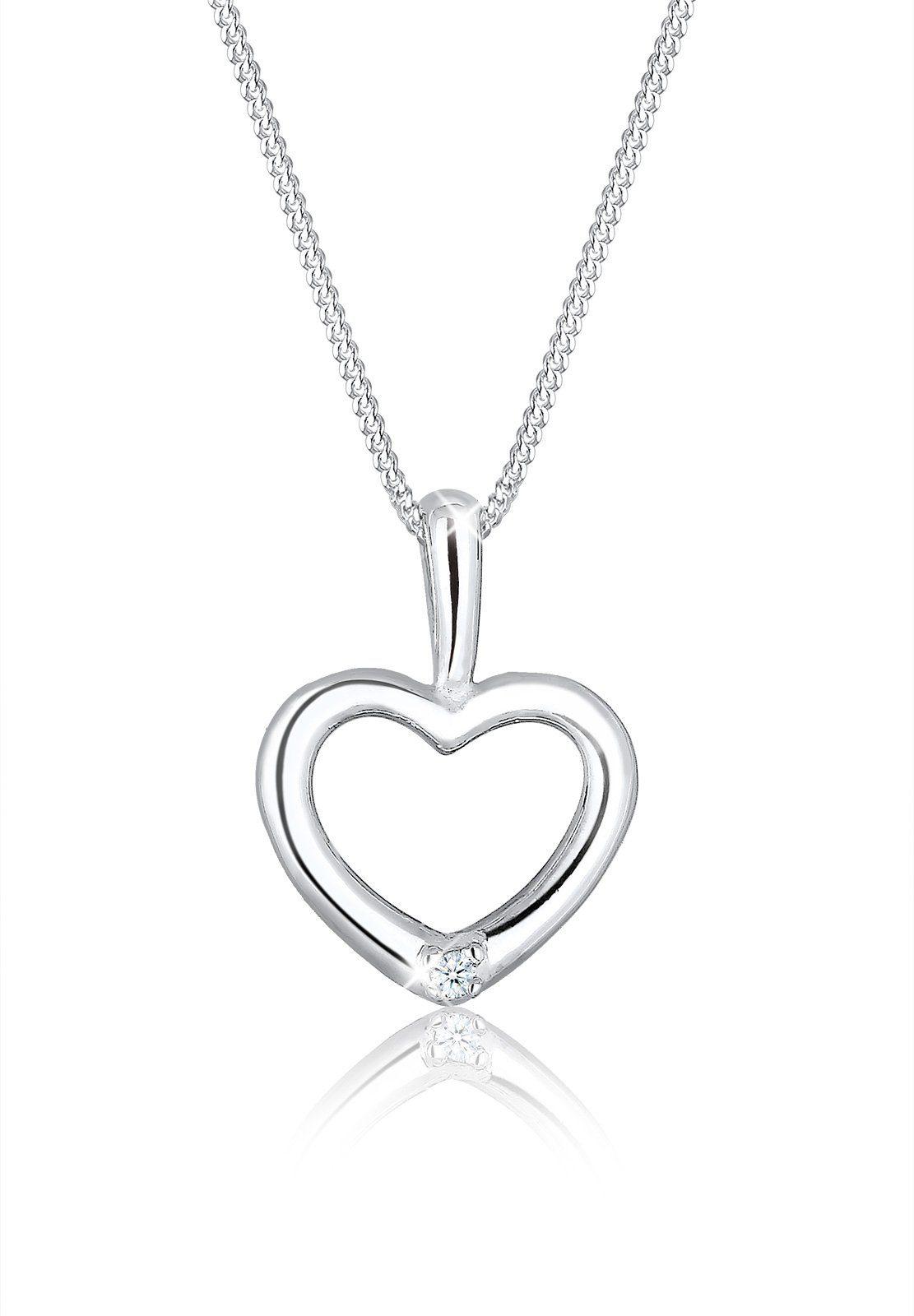 Diamore Collierkettchen »Herz Filigran Diamant (0.02 ct) 925 Silber«