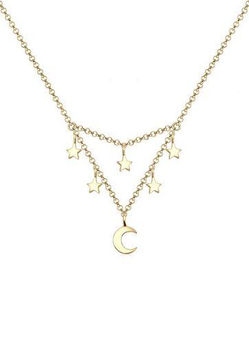 Elli Collierkettchen »Halbmond Sterne Astro Trend 925 Silber«