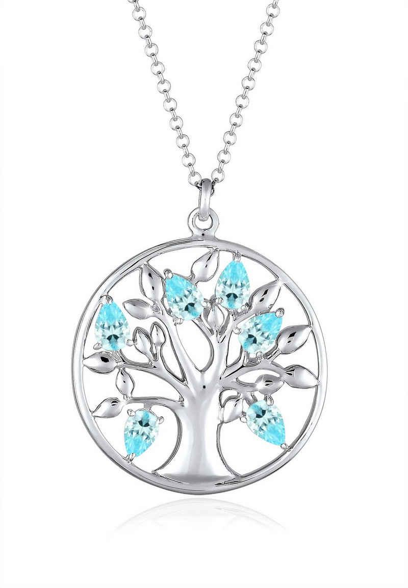 Elli Kette mit Anhänger »Lebensbaum Zirkonia 925 Sterling Silber«