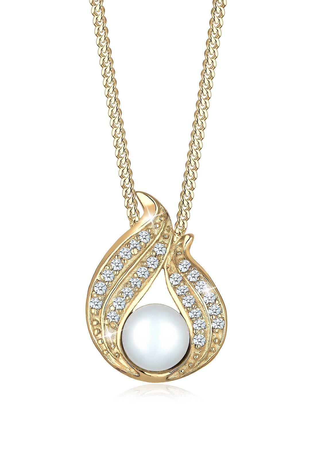 Diamore Collierkettchen »Süsswasserzuchtperle Diamant (0.26ct) 585 Gelbgold«