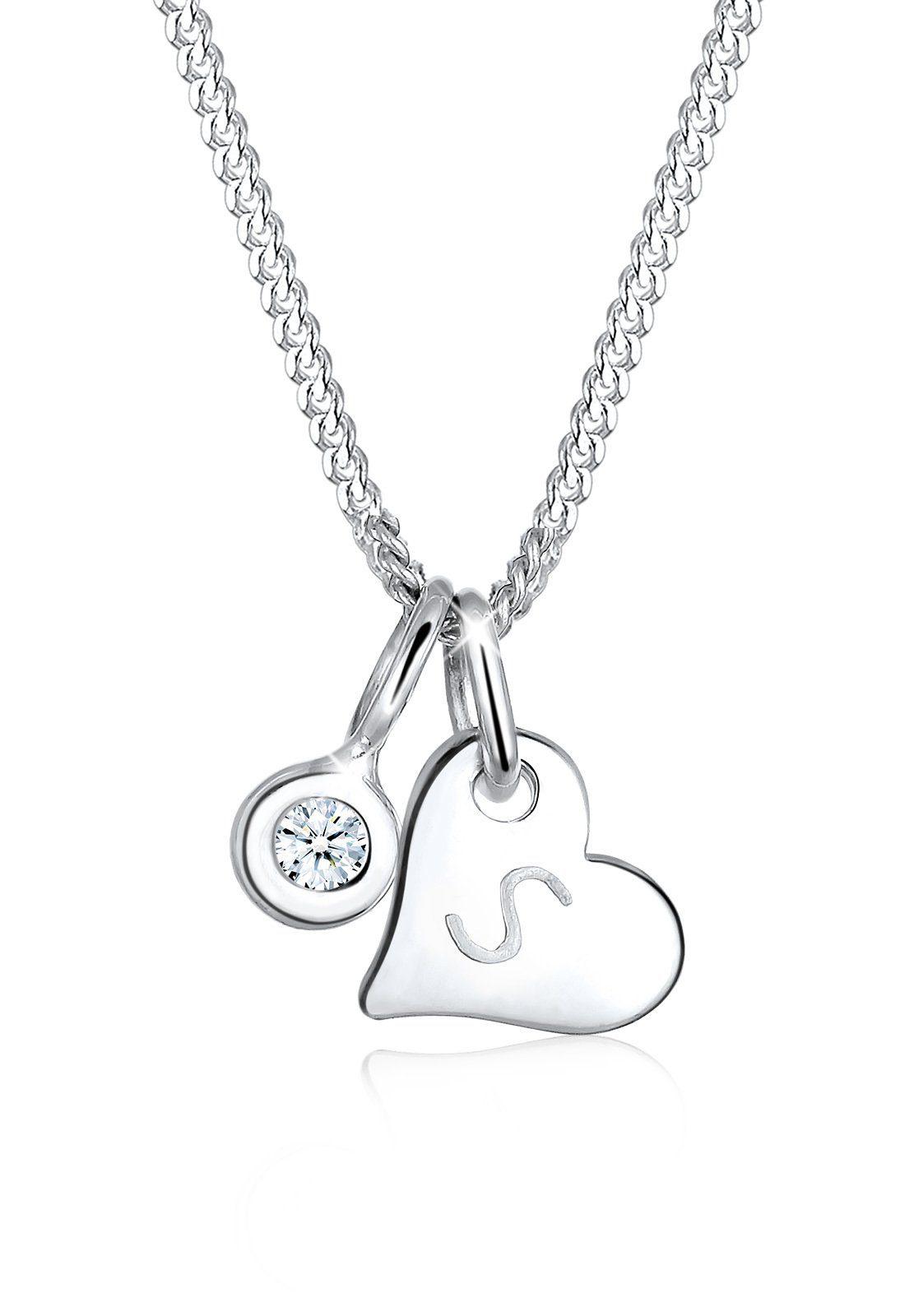 Elli Collierkettchen »Herz Buchstabe S Diamant (0.03 ct) 925 Silber«