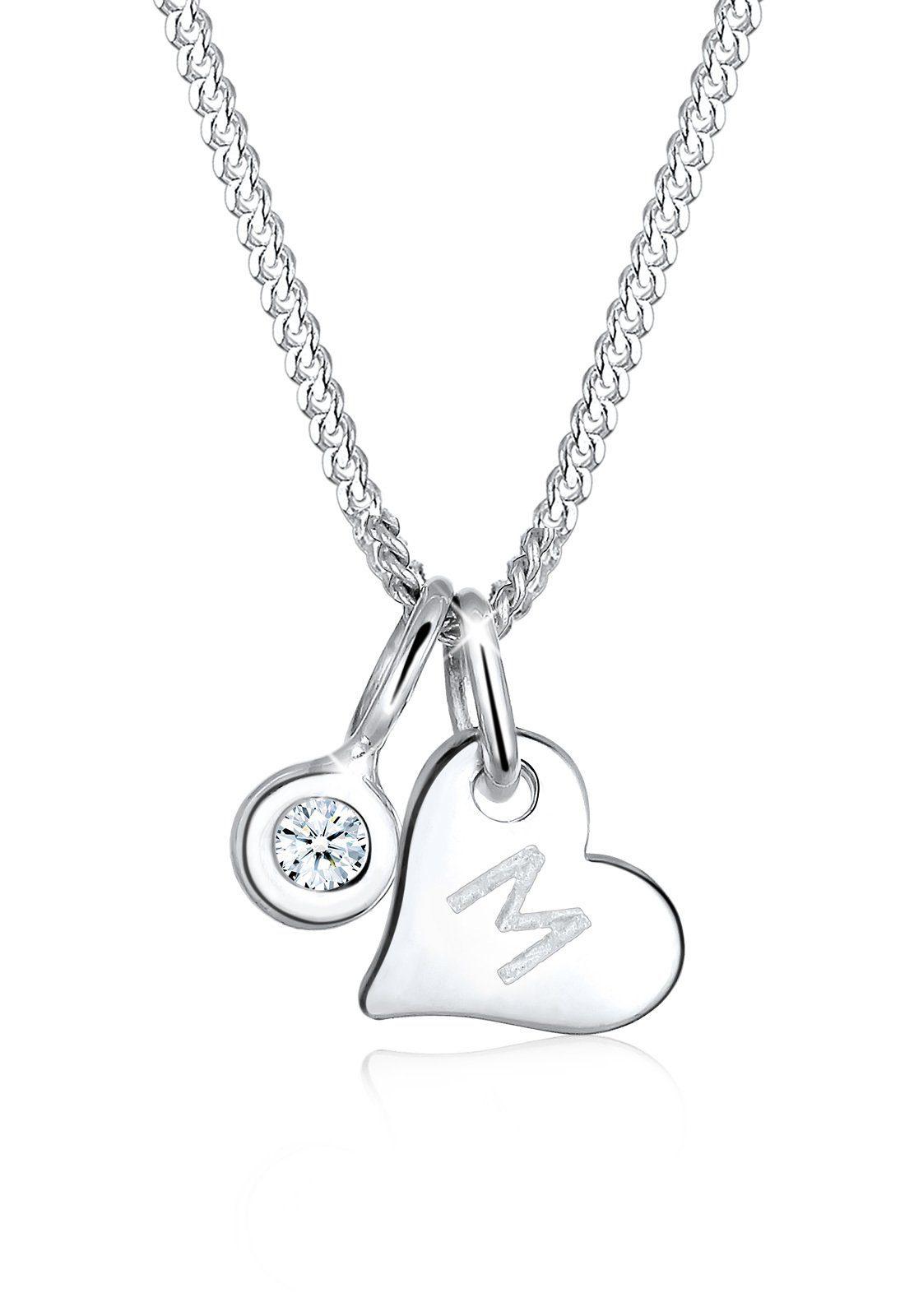 Elli Collierkettchen »Herz Buchstabe M Diamant (0.03 ct) 925 Silber«