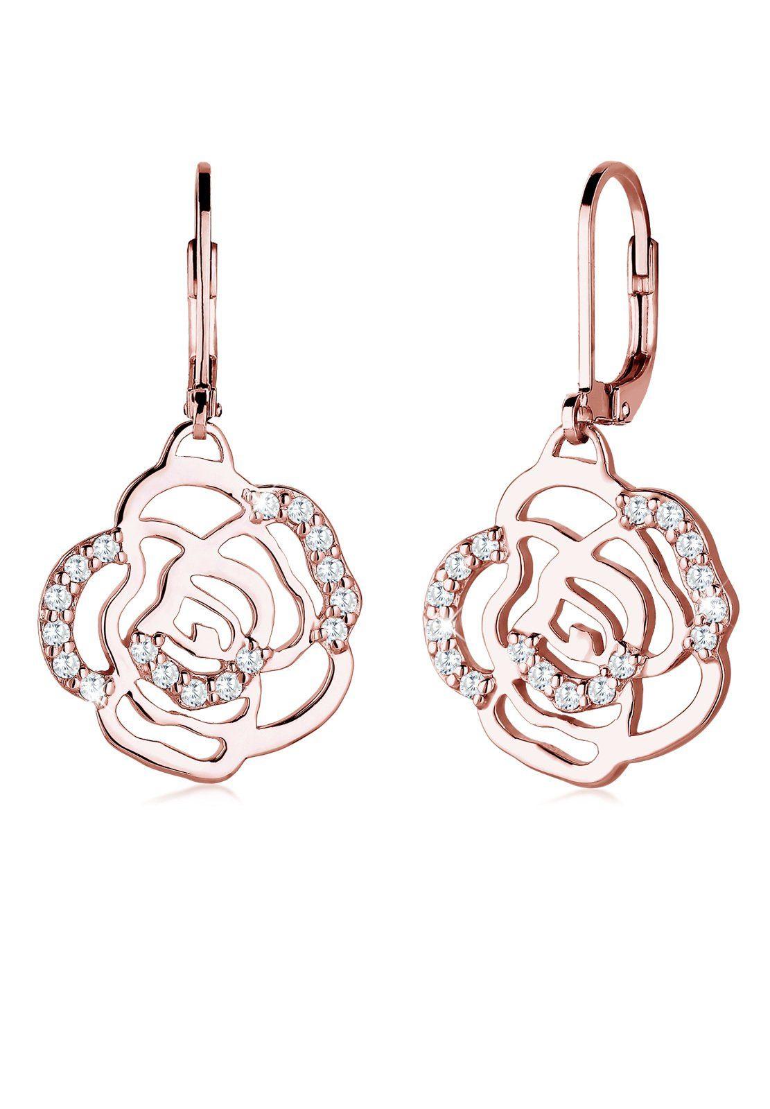 Elli Paar Ohrhänger »Blume Rose Feminin Elegant Zirkonia rosévergoldet«