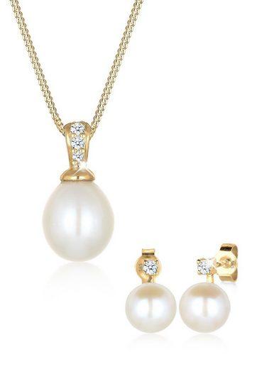 Diamore Schmuckset »Klassisch Perle Diamant (0.12 ct) 585 Gelbgold«